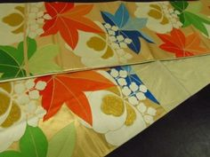 Japanese-Kimono-SILK-FUKURO-OBI-Momiji-Maple-Leave-Kiku-Flower-44