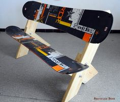 Snowboard and ski recycling  #banc #snowboard #outdoor #recycling #upcycling #recyclage #recup #bricolage #bois #travaildubois #faitmain #diy #creation #wood #woodworking #woodworkidea