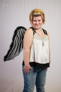 Modeling with angel wings.