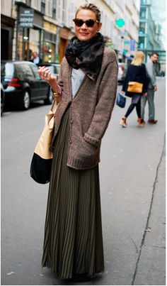 hair back, scarf, cozy knits, long skirt