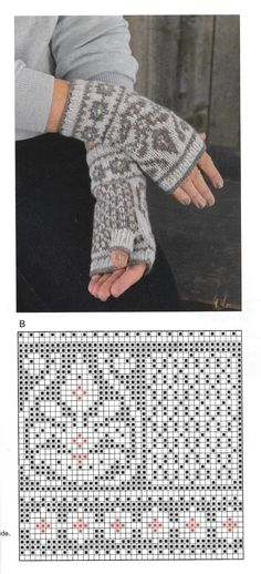 Knitted Mittens Pattern, Fair Isle Knitting Patterns, Knit Mittens, Knitting Charts, Knitted Gloves, Knitting Socks, Knit Crochet, Crochet Pattern, Fingerless Mitts