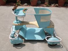 Vintage Baby Stroller w/Full Fenders Blue Original Vintage Stroller, I Got You Babe, Vintage Nursery, Baby Carriage, Prams, Baby Furniture, Vintage Children, Baby Things, Baby Care