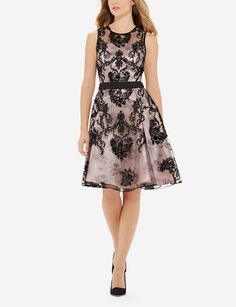Lace Fit & Flare Dress - The perfect holiday party dress! Floral mesh lace and glossy fabric together create a simultaneously flirty and elegant look.