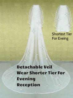 Chapel Wedding Bridal Veil Ivory White Detachable Curly Edge With Crystals