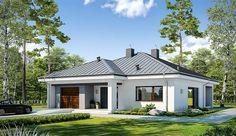 Projekt domu parterowego Dostępny D45 wariant I o pow. 120,57 m2 z garażem 1-st., z dachem kopertowym, z tarasem, sprawdź! Modern Bungalow House, Home Fashion, My House, Gazebo, Provence, House Plans, Sweet Home, Shed, New Homes