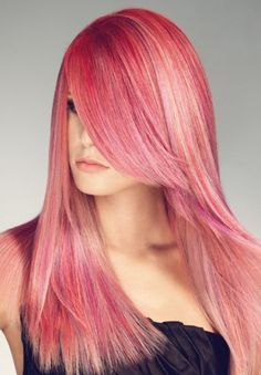 long pink hair with uber long fringe