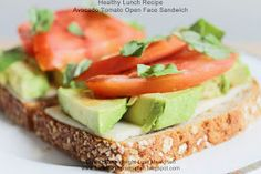 Healthy Lunch Recipe: Avocado Tomato Open Face Sandwich | Clean Eating Meal Plan | Easy and Cheap Healthy Meals | Weight Loss Meal Plan