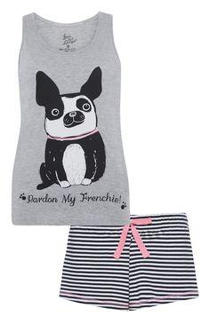 Primark - Graues Pyjamaset mit Bulldoggenmotiv