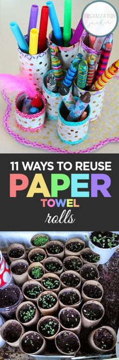 How to Reuse Paper Towel Rolls. Things to Do With Paper Towel Rolls. Craft Projects for Less. Craft Projects for Kids Recycled Crafts Kids, Recycled Art Projects, Craft Projects For Kids, Diy Crafts For Kids, Easy Crafts, Kids Diy, Decor Crafts, Easy Diy, Craft Ideas