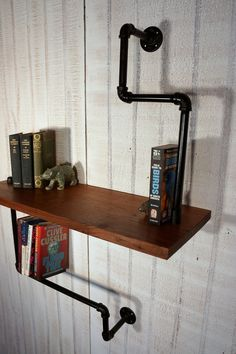 Walnut and Industrial Iron Bookshelf. $185.00, via Etsy.