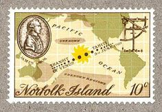 "Norfolk Island stamp commemorating the bicentenary of Cook's observation of the transit of Venus from Tahiti. It depicts the track of Venus across the Sun superimposed on the Pacific Ocean. The instrument shown at top right is a quadrant made by John Bird, used by the expedition for finding latitude and checking time. (photo: Ian Ridpath) Mona Evans, ""Transit of Venus – Captain Cook 1769"" http://www.bellaonline.com/articles/art28591.asp"