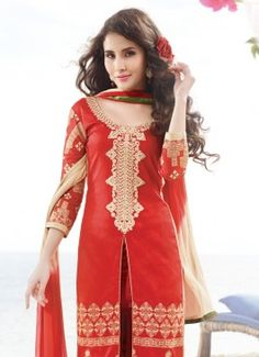 Stunning Red Coloured Unstitched #partywearsalwarkameezonlineshoppingIndia