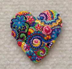 Freeform embroidery heart brooch  Brooch #148 by Lucismiles on Etsy