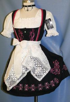 New 3 PC Short Black German Women Party Hostess Oktoberfest Dirndl Dress 16 L | eBay
