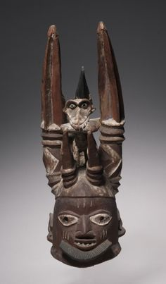 Africa | Helmet mask from the Yoruba people of Nigeria | Wood and pigment | Late 1880s to early 1900s