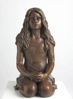 Bronze Garden sculpture by artist Laura Lian titled: 'Child Of Hope (Bronze Kneeling Thinking Girl)' £10000 #sculpture #art