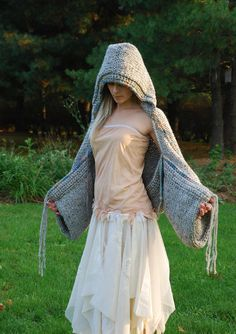 earthenpurl handmade hoodie shrug