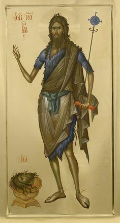 St John the Baptist icon, by Fr Ilie Bobaianu. Hagiography, I Icon, Byzantine Art, Paint Icon, Orthodox Christian Icons, Art, Christian Art, Art Journal, Sacred Art
