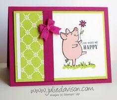 Stampin' Up! This Little Piggy ~ 2017-2019 In Colors ~ Berry Burst, Lemon Lime Twist, Powder Pink ~ Paper-Piecing Technique ~ www.juliedavison.com