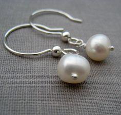 Pearl Earrings, simple sterling silver pearl earrings, June birthstone, bridesmaid gifts, bridal jewelry