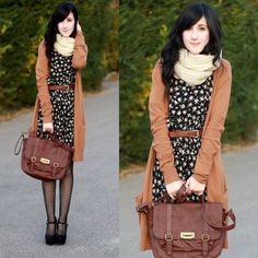 Infinity scarf, black patterned dress, brown belt, brown cross-body, long camel cardy, black patterned tights