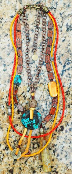 Exotic, Rustic Orange, Brass, Leather & Turquoise Disc Pendant Necklace | XO Gallery