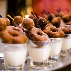 Mini Foods: Milk and Donuts. Great brunch party idea.