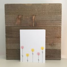 Flowers Card Set / Yellow and Pink Flowers / Blank Greeting Card by PaisleyAndJuneCardCo on Etsy