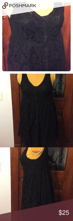 Sleeveless Black lace shirt dress w/removable slip Sleeveless Black lace shirt dress w/removable slip that I could totally see being rocked over a crop top! Torrid size 2 torrid Dresses