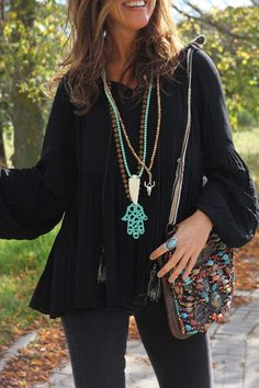 Boho Jewelry selected just for you Style Hippie Chic, Look Boho Chic, Hippy Chic, Boho Outfits, Casual Outfits, Fashion Outfits, Boho Gypsy, Hippie Boho, Romantic Outfit