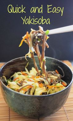 Easy Chicken Yakisoba Noodles Recipe is healthy fast food. With buckwheat noodles, vegetables and chicken, this is a tasty way to enjoy a Japanese classic stir fry Chicken Lunch Recipes, Yummy Pasta Recipes, Noodle Recipes, Real Food Recipes, Yakisoba Noodles Recipe, Chicken Yakisoba, Fast Healthy Meals, Healthy Recipes, Vegan Meals
