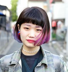 asian girl purple highlights bob - Google Search