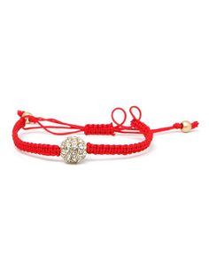 Red string bracelet - beaded bead