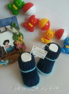 Baby Booties.Crochet Baby Booties.Blue baby от Exclusive72 на Etsy, $10.99