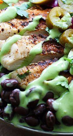 ❥ Grilled Chicken Taco Salad with Spicy Cilantro Lime Dressing - Creme De La Crumb