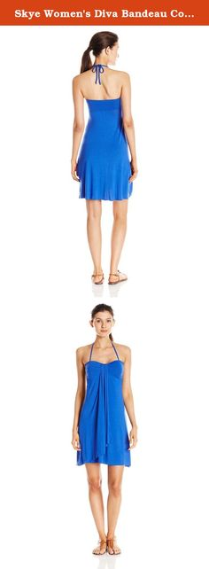 Skye Women's Diva Bandeau Cover Up Dress, Mediterranean, X-Large. The easy femininity of the diva dress makes it an ideal choice as a beach cover up or casual day dress. Available in a range of both solids and prints, it features a flattering, mid-length A-line silhouette, molded cups, and halter spaghetti straps. But it's the sweetheart neckline and romantic, ruffled front gore detail that lend this style its flirty, sweet character.
