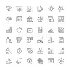 Thin Line Icons Set Flat Symbols Stock Vector (Royalty Free) 336651944 Thin Line, Line Icon, Icon Set, Royalty Free Stock Photos, Symbols, Cloud Computing, Image, Finance