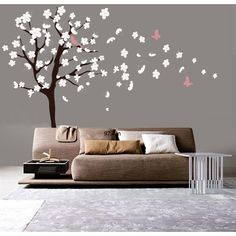 Tree Wall Decal - White Cherry Blossom Wall Decal - Flowers Blowing in Wind - decal source deal at walmart Nursery Wall Decals, Vinyl Wall Decals, Wall Stickers, Wall Murals, White Cherry Blossom, Cherry Blossoms, Décor Antique, White Cherries, Blossom Trees