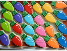Christmas cookies~                            bulbs by buttercup cookie, #, Christmas lights, Orange, red, pink, blue green