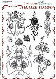 Nouveau Lovebirds Unmounted Rubber stamp sheet - A5 chocolate Baroque Rubber Stamps. Amazing Quality