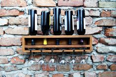 Wine rack, Wall mounted wine holder, Minimalist, Rustic & functional design, Up-cycle, #avartwood Wine Rack Wall, Wall Mount, Upcycle, Minimalist, Rustic, Unique Jewelry, House, Etsy, Vintage