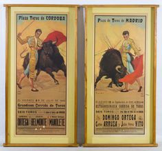 Lot 687: Mounted Bull Fighting Posters; Two reproduction posters