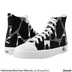 Wild Animal Black Gray White Zizzago Printed Shoes