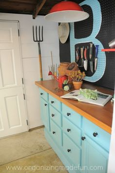 Potting Shed with pegboard organization