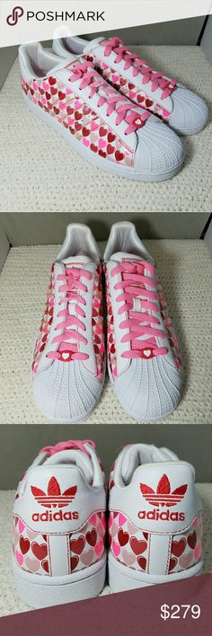ADIDAS *nwot* 9 Ultra Rare Pink & Red Hearts Brand: Adidas  Item: *White with Pink and Red Hearts All Over Them *Pink Laces with a Heart On Toes *Extremely Rare & Ultra Hard to Find Anywhere on the Internet *Still has the Plastic Tag Holder in Tact *NWOT, Never Worn & Never Tried On  Color: White, Pink & Red  Size: 9  Condition: NWOT New Without Tags  *no trades, offers via offer button only* adidas Shoes Sneakers