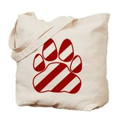 Candy Cane Paw Tote Bag