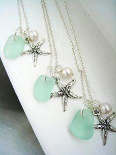 Starfish and Aqua Sea Glass Necklace. Tiffany Blue Beach Wedding. Beach Wedding