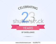 23 years anniversary, signs, symbols, simple design with red ribbon. - stock vector
