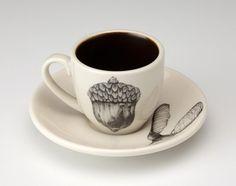 Acorn espresso cup, Laura Zindel Designs.  We'd love to get these for the Bookshop! #LauraZindel