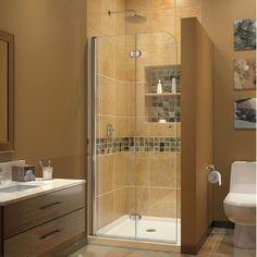 "DreamLine Aqua Fold 36"" W x 74.75"" H x 36"" D Square Hinged Shower Door with Base"